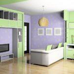 Дизайн детской комнаты 15 кв м в зеленом и фиолетовом цвете