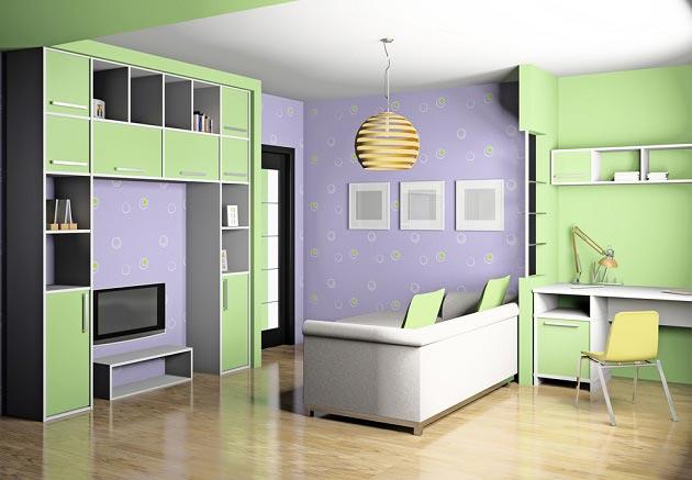 Сочетание в интерьере зеленого и фиолетового цвета