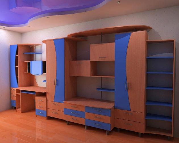 Мебельный гарнитур с о стеллажом, шкафами, письменным столом