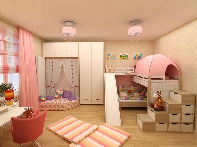 Дизайн детской комнаты для двух девочек фото 15 кв.м