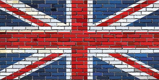 Граффити на стене в виде английского флага