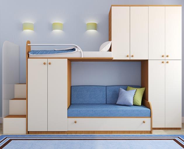 Двухъярусная кровать со шкафчиками и ступенями для подъема