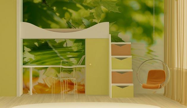 Кровать-чердак со спальным местом наверху и рабочим внизу