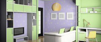 Дизайн детской комнаты в зеленом и фиолетовом цвете
