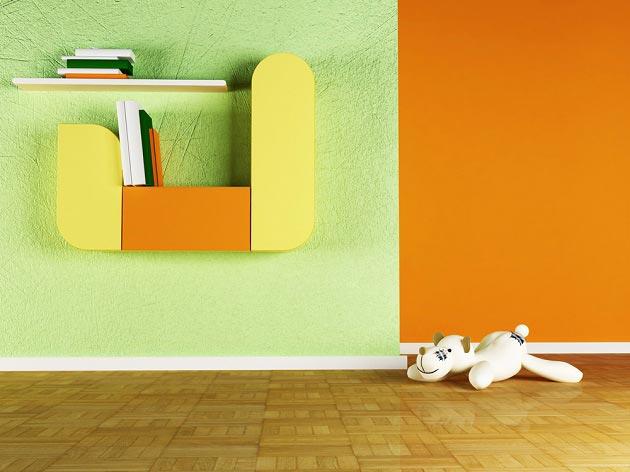 Сочетание оранжевого и зеленого в интерьере детской
