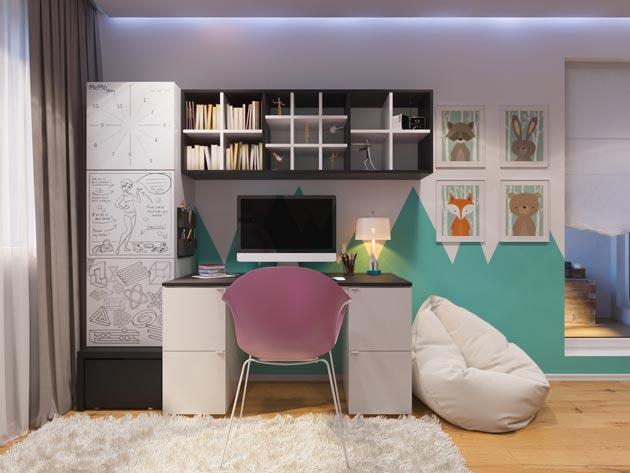 Полки и шкаф для книг, стол, устойчивый стол