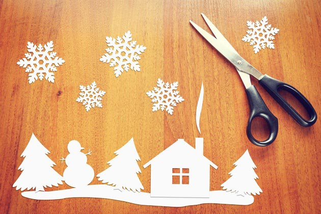 Украшения на окна из бумаги к Новому году