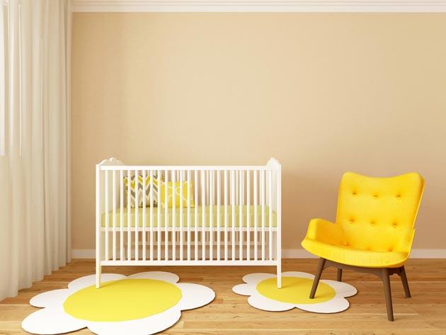 Оттенки желтого цвета в комнате для грудничка
