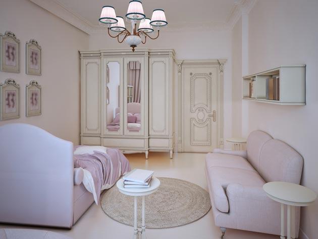 Вместительный шкаф в кремовом цвете с мягкой мебелью