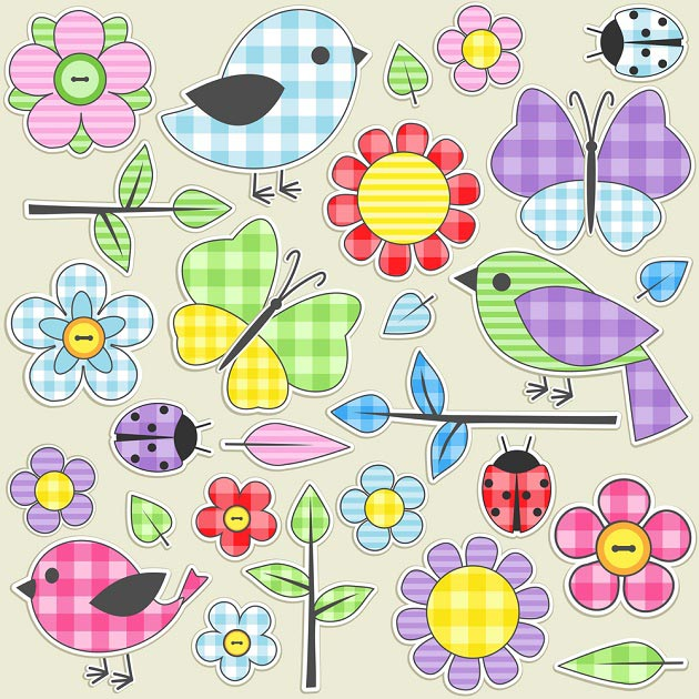 Наклейки с изображением птиц и цветов