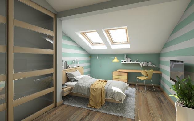 Подростковый интерьер со шкафом-купе, столом и кроватью