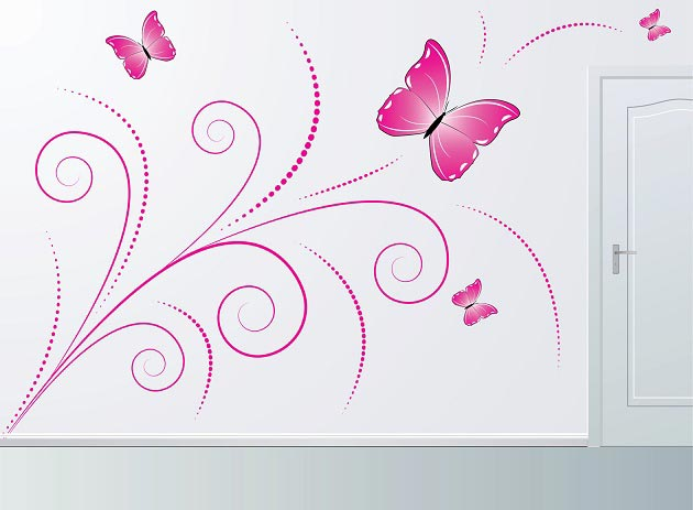 Идея рисунка с бабочками на стену в детскую комнату для девочки