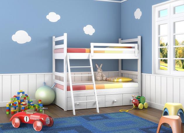 Облака на стене в детской комнате