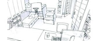 Набросок комнаты для двух детей с двухъярусной кроватью