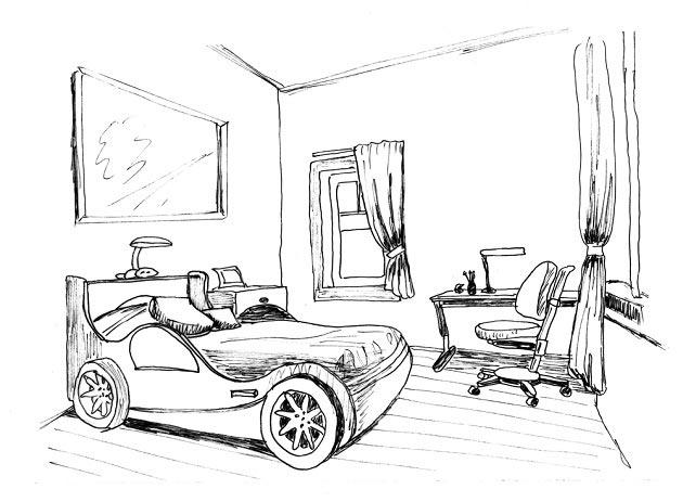 Эскиз детской комнаты с кроватью машинкой