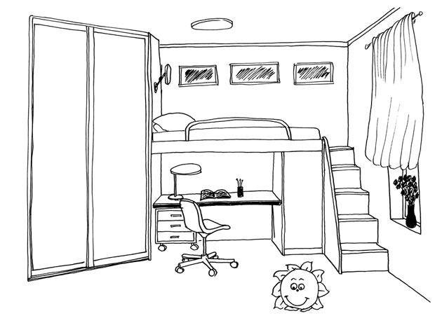 Дизайн маленькой детской со шкафом и кроватью-чердаком