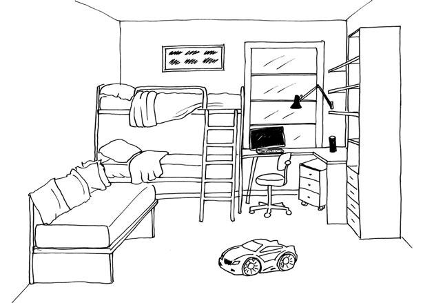 Рабочая и спальная зоны в интерьере для двоих детей