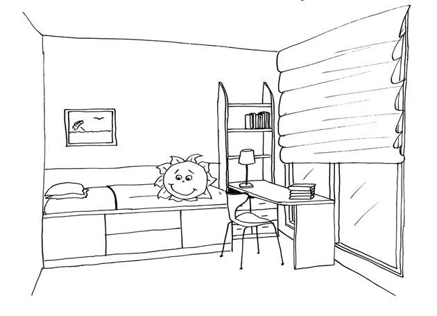 Изображение рулонных штор, стола у окна и детской кровати