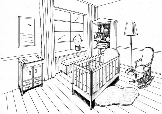 Эскиз комнаты для новорожденного с кроваткой и пеленальным комодом
