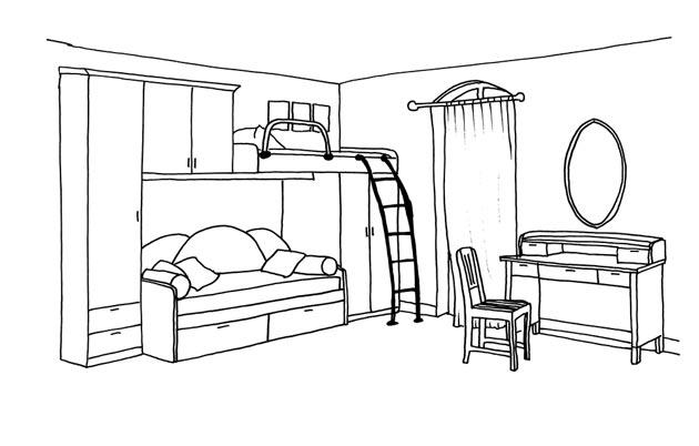 Эскиз кровати с местом для отдыха внизу и спальным наверху