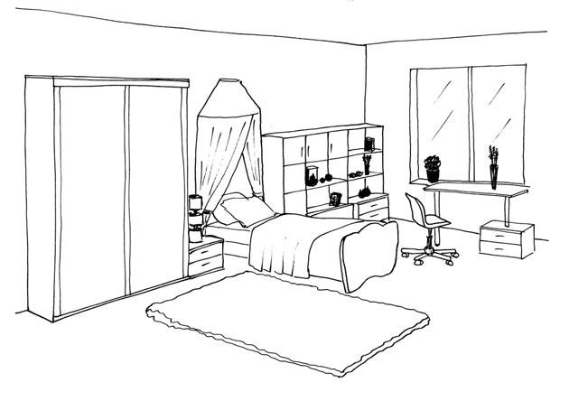 Спальня девочки с балдахином над кроватью и стеллажом