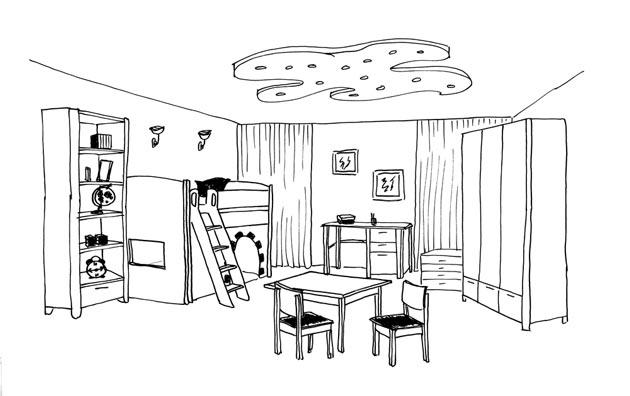 Спальная, рабочая и игровая зона в комнате для малышей