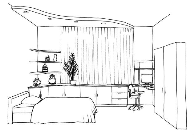 Графический эскиз комнаты для девочки с мебелью