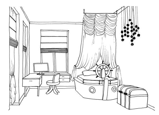 Морской стиль в комнате с сундуком и кроватью в виде лодки