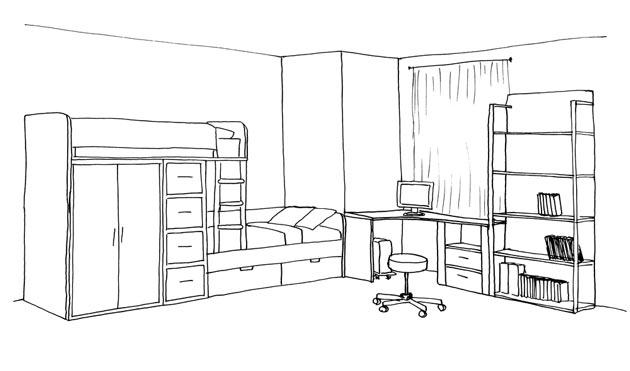 Кровать для двоих, рабочее место и стеллаж