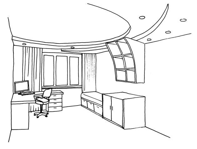 Изображение комнаты с рабочей и спальной зоной и натяжным потолком