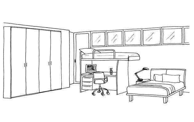 Вместительный шкаф, кровать-чердак в интерьере для двух мальчиков