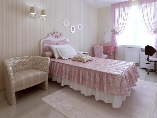 Оформление стен, текстиля в пастельных тонах