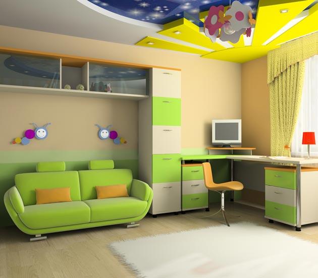 Зонирование потолком рабочей зоны и места для отдыха