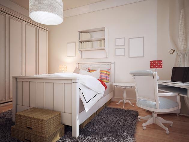 Белая мебель в подростковой детской