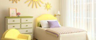 Спальня девочки с креслом и комодом