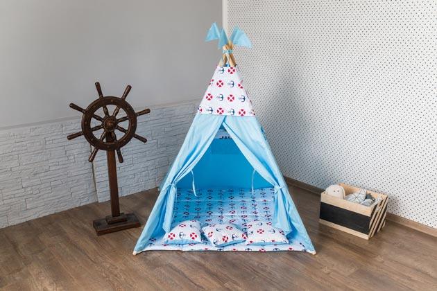 Домик-палатка в голубом цвете