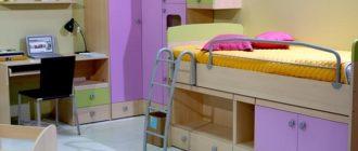 Кровать, угловым шкафом и письменный стол в интерьере для девочки