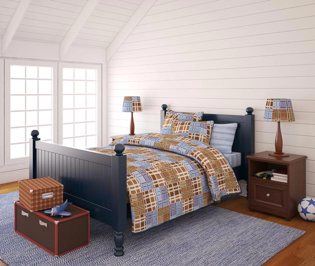 Грамотно обустроенное спальное место со светильниками и тумбочками