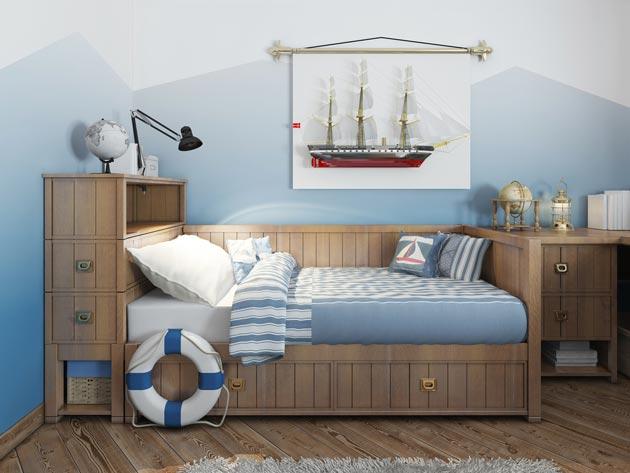 Дизайн кровати с имитацией под каюту капитана