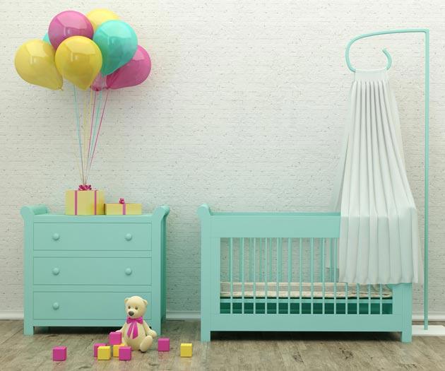 Мебель для новорожденного в бирюзовом цвете