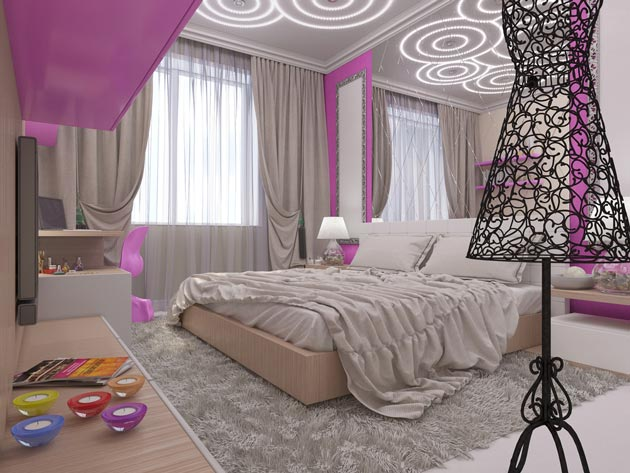 Элементы стиля арт-деко в комнате девочки подростка