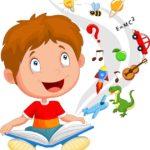 Ребенок думает и учит стих, представляя ассоциации